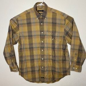 Nautica Mens Large Tan Yellow Plaid LS Button Up